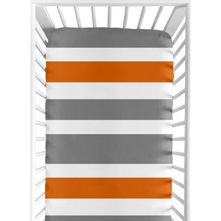 Sweet Jojo Designs Fitted Crib Sheet for the Gray and Orange Stripe Collection