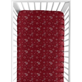 Sweet Jojo Designs Red Bandana Print Fitted Crib Sheet for the Wild West Collection