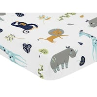 Sweet Jojo Designs Fitted Crib Sheet for the Mod Jungle Collection