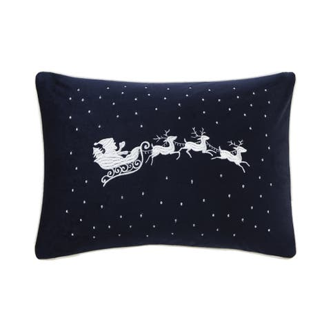 Madison Park Santa's Christmas Eve Navy Oblong Embroidered Decorative Throw Pillow