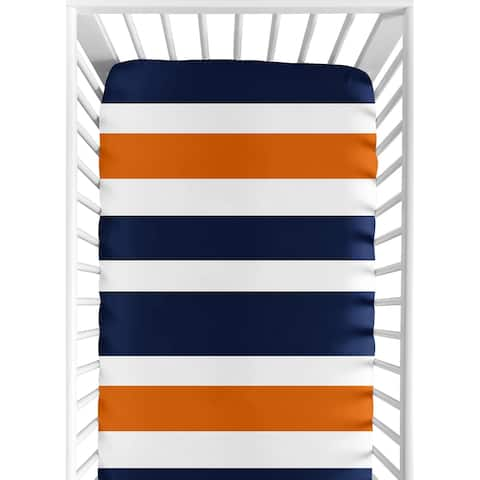 Sweet Jojo Designs Fitted Crib Sheet for the Navy Blue and Orange Stripe Collection