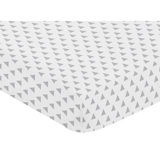 Sweet Jojo Designs Triangle Print Fitted Crib Sheet for the Grey and White ModArrow Collection