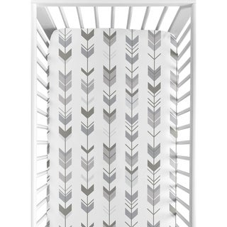 Sweet Jojo Designs Fitted Crib Sheet for the Grey and White Mod Arrow Collection