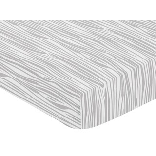Sweet Jojo Designs Woodgrain Print Fitted Crib Sheet for the Grey and White Woodsy Collection