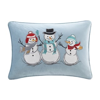 Madison Park Winter Snow Buddies Blue Oblong Embroidered Decorative Throw  Pillow