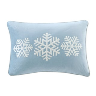 Madison Park Velvet Snowflake Trio Oblong Embroidered Decorative Throw Pillow 3 Color Option