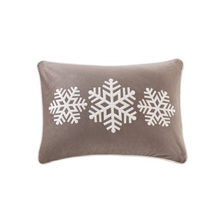 Madison Park Velvet Snowflake Trio Oblong Embroidered Decorative Throw Pillow 3 Color Option