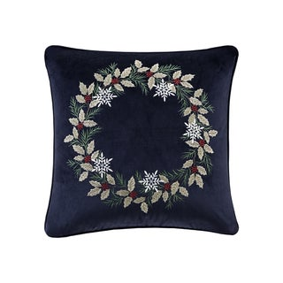 Madison Park Holiday Wreath Navy 20-inch Square Embroidered Decorative Throw Pillow