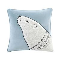 Madison Park Blissful Holiday Bear Blue 20-inch Square Embroidered Decorative Throw  Pillow