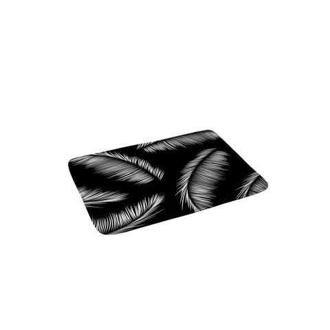Kelly Haines Monochrome Palm Leaves Memory Foam Bath Mat