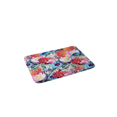 83 Oranges neon bloom Memory Foam Bath Mat
