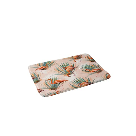 Marta Barragan Camarasa Flamingos Pattern with Cactus Memory Foam Bath Mat