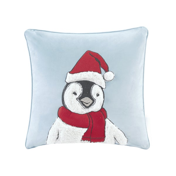 Shop Madison Park Fluff The Holiday Penguin Blue 20 Inch Square Embroidered Decorative