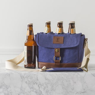 Personalized Insulated Navy Waxed Canvas 6-Pack Bottle Carrier