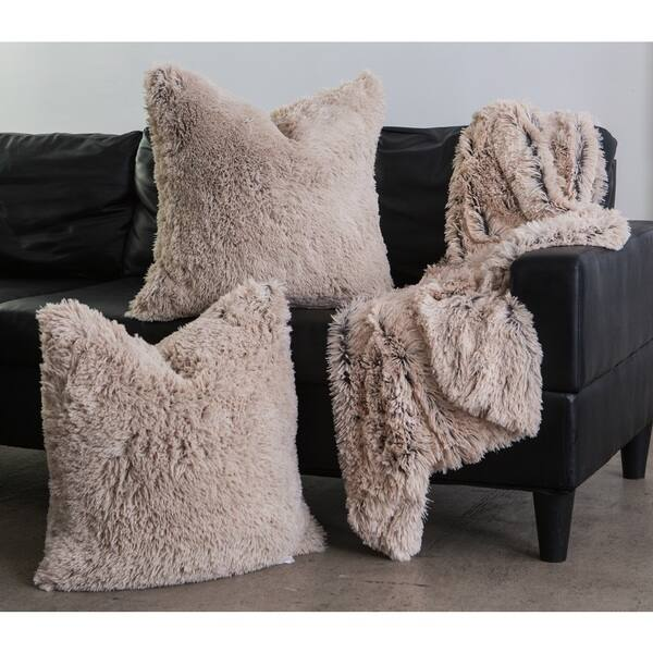 Faux Fur Pillow And Throw Set.Shop Chateau By Sheri Shag Faux Fur Pillow And Throw Set