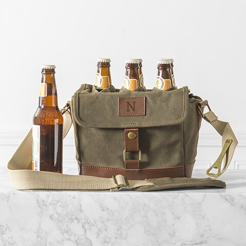 Personalized Insulated Olive Green Waxed Canvas 6-Pack Bottle Carrier