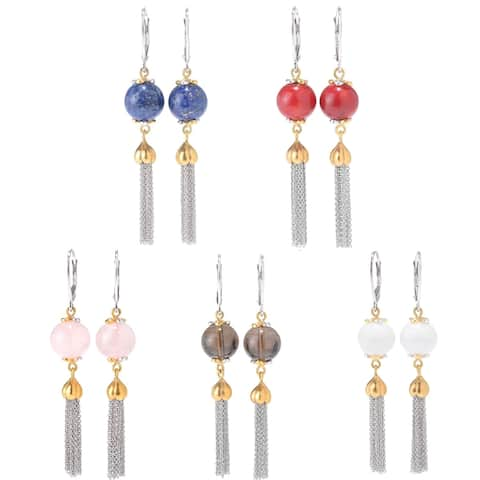 Michael Valitutti Palladium Silver Gemstone Bead & Cable Chain Tassel Earrings