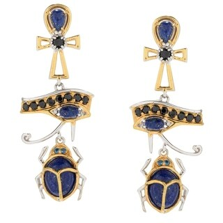 Michael Valitutti Palladium Silver Cleopatra Lapis & Multi Gemstone Egyptian Icon Drop Earrings