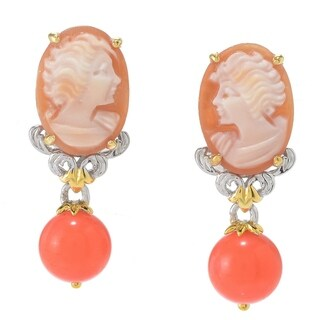 Michael Valitutti Palladium Silver Carved Shell Cameo & Gemstone Bead Drop Earrings