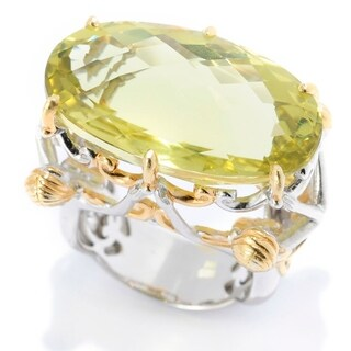 Michael Valitutti Palladium Silver Checkerboard Cut Ouro Verde Sculpted Lady Ring