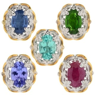 Michael Valitutti Palladium Silver Exotic Gemstone Flower Stud Earrings