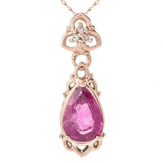 Michael Valitutti 14K Rose Gold Pear Shaped Rubellite & Diamond Pendant