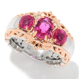 Michael Valitutti Palladium Silver Rubellite Three-Stone Band Ring|https://ak1.ostkcdn.com/images/products/18118907/P24273336.jpg?impolicy=medium
