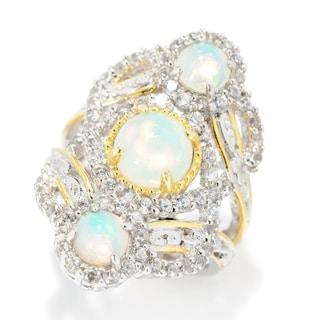 Michael Valitutti Palladium Silver Ethiopian Opal & White Zircon Elongated Split Shank Ring