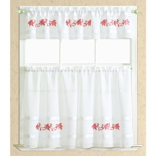 RT Designers Collection Spring Embroidered Kitchen Curtain Tier and Valance Set