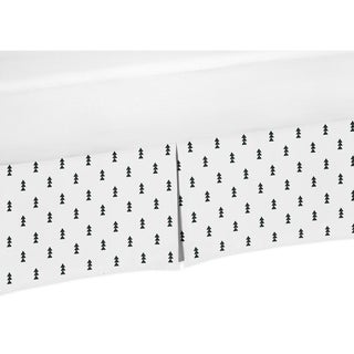 Sweet Jojo Designs Black and White Triangle Tree Print Crib Bed Skirt for the Bear Mountain Collection