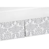 Sweet Jojo Designs Gray and White Damask Crib Bed Skirt for Elizabeth, Avery and Skylar Bedding Set Collections