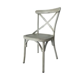 Villa Vintage White Aluminum Indoor/Outdoor Rustic Dining Chair (Set of 2)