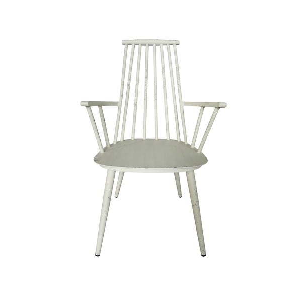 Han Aluminum Retro White Indoor Outdoor Dining Chair Set Of 2