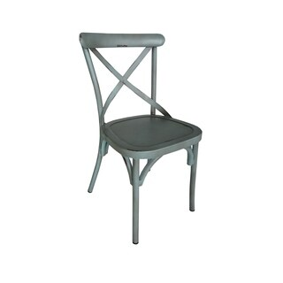 Villa Vintage Blue Aluminum Indoor/Outdoor Rustic Dining Chair (Set of 2)