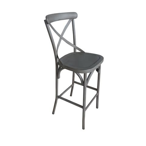 Villa Vintage Grey Aluminum Indoor/Outdoor Rustic Bar Height Stool (Set of 2)