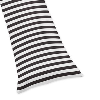 Sweet Jojo Designs Black and White Stripe Print Body Pillow Case for the Paris Collection