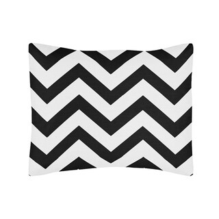 Sweet Jojo Designs Standard Pillow Sham for the Black and White Chevron Collection