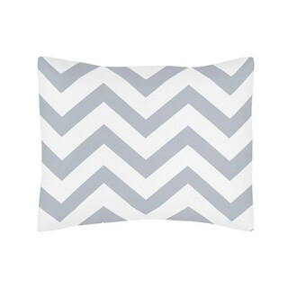 Sweet Jojo Designs Standard Pillow Sham for the Gray and White Chevron Collection