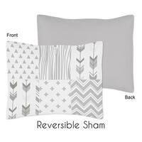 Sweet Jojo Designs Standard Pillow Sham for the Grey and White Woodsy Collection