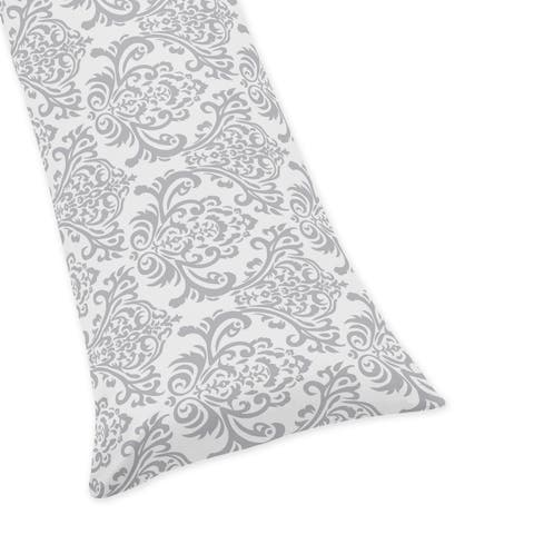 Sweet Jojo Designs Gray and White Damask Print Body Pillow Case for the Skylar Collection