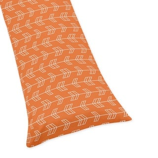 Sweet Jojo Designs Orange Arrow Print Body Pillow Case for the Orange and Navy Blue Arrow Collection