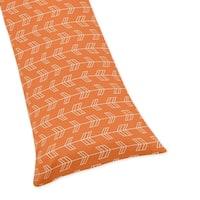 Sweet Jojo Designs Orange Arrow Print Body Pillow Case for the Orange and Navy Blue Arrow Collection