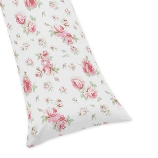 Sweet Jojo Designs Sage and Pink Floral Print Body Pillow Case for the Riley's Roses Collection