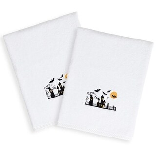 Halloween Embroidered Haunted House on White Turkish Cotton Hand Towels (Set of 2)