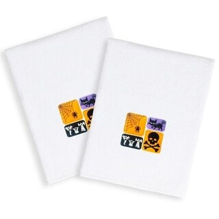 Halloween Embroidered Cat and Ghosts on White Turkish Cotton Hand Towels (Set of 2)