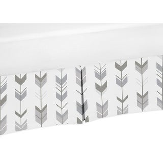 Sweet Jojo Designs Toddler Bed Skirt for the Grey and White Mod Arrow Collection