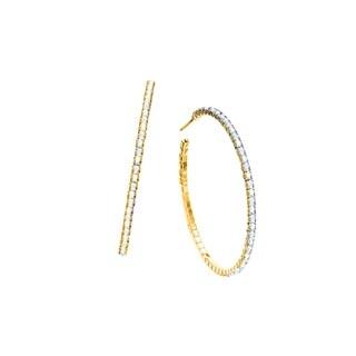 Isla Simone 14K Gold Plated J-Hoop Earrings with Aurora Borealis Crystals