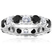 Bliss 14k White Gold 5 ct TDW Black & White Diamond Eternity Ring Womens Wedding Band