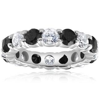 Bliss 14k White Gold 5 ct TDW Black & White Diamond Eternity Ring Womens Wedding Band