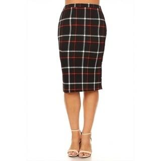 Women's Plus Size Black Red Plaid Pencil Skirt